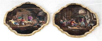 PAIR OF FRENCH LILLE PORCELAIN PLAQUES