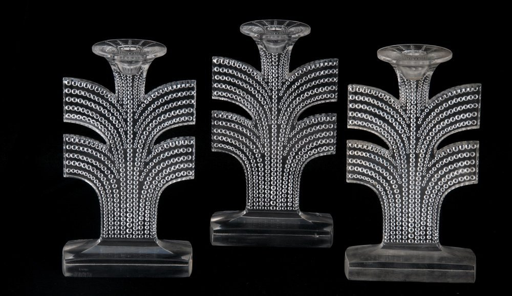 THREE RENE LALIQUE MOLDED CRYSTAL CANDLESTICKS