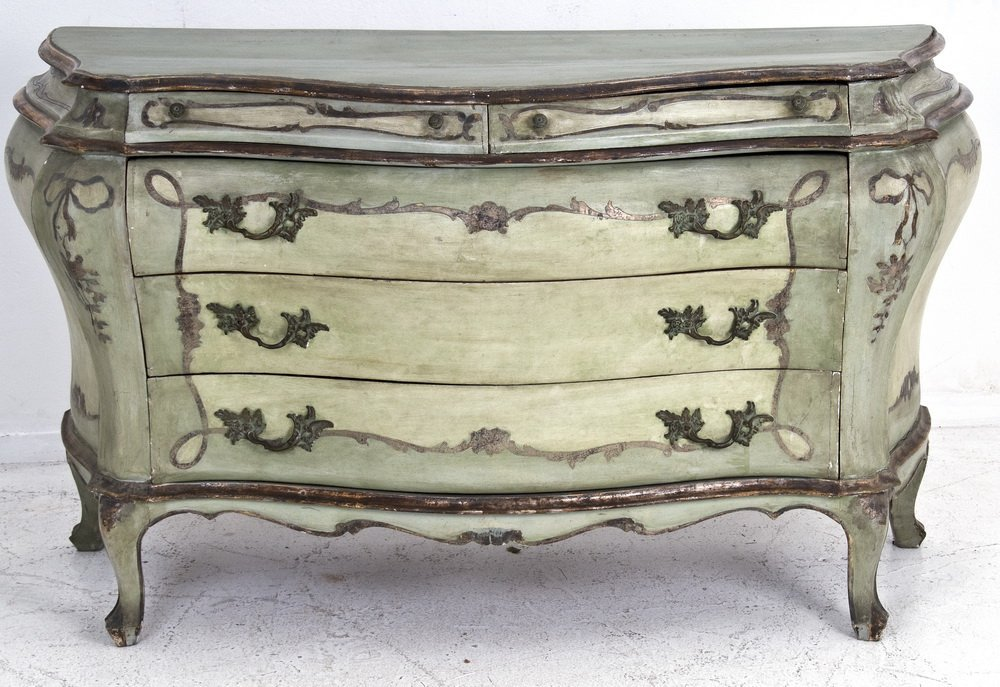 ITALIAN PAINTED & SILVER GILT COMMODE