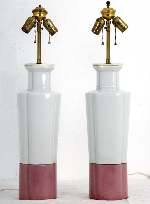 """WILLIAM """"BILLY"""" HAINES: PAIR OF CHINESE PORCELAIN LAMPS"""