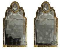 PAIR OF VENETIAN ETCHED  COLORED GLASS MIRRORS