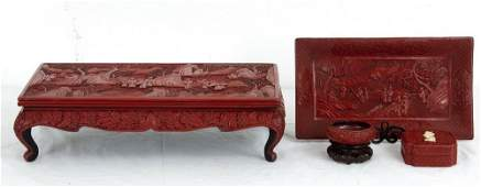 FOUR CHINESE CINNABAR LACQUERED TABLE ACCESSORIES