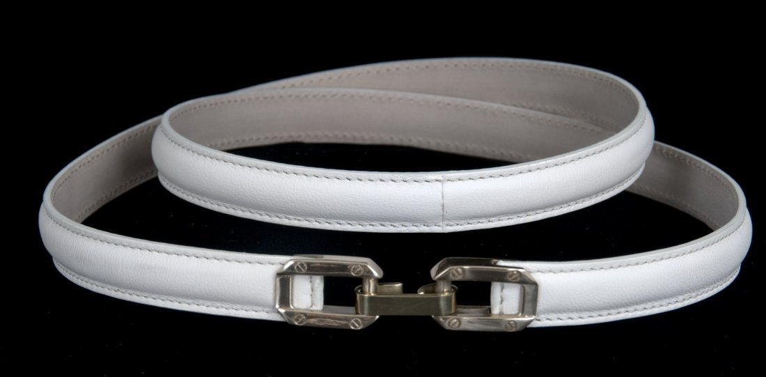CHLOE MILK COLORED LEATHER SKINNY BELT