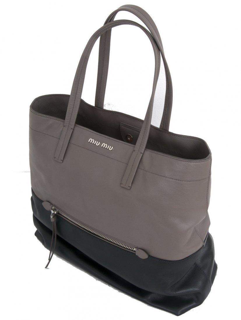 REBECCA MINKOFF GRAY AND BLACK SATCHEL
