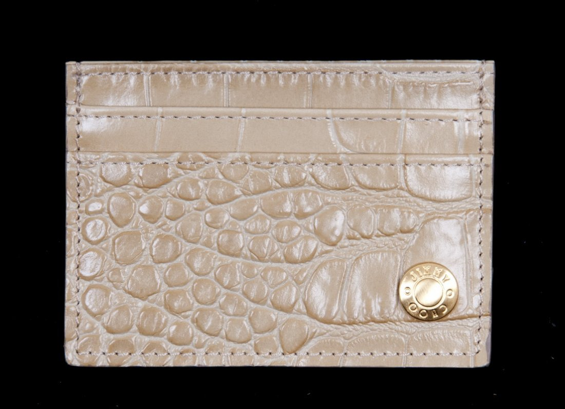 "JIMMY CHOO ""TONYA"" CROC EMBOSSED CREDIT CARD CASE"