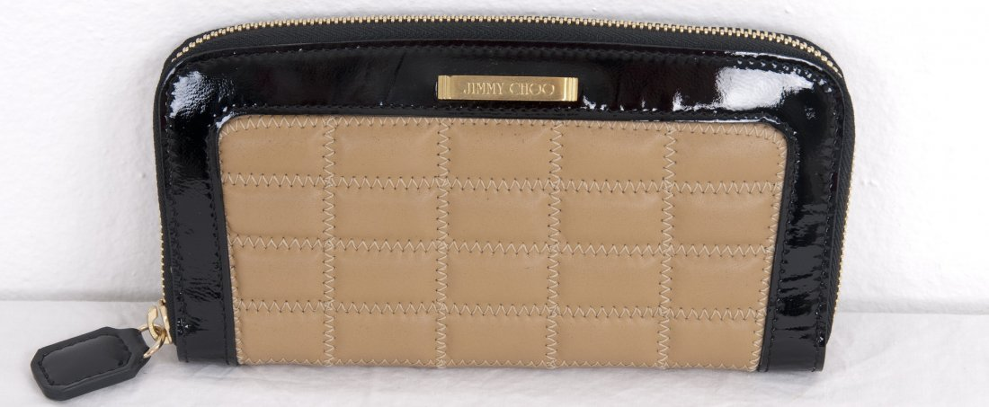 JIMMY CHOO NUDE & BLACK ZIP-AROUND WALLET
