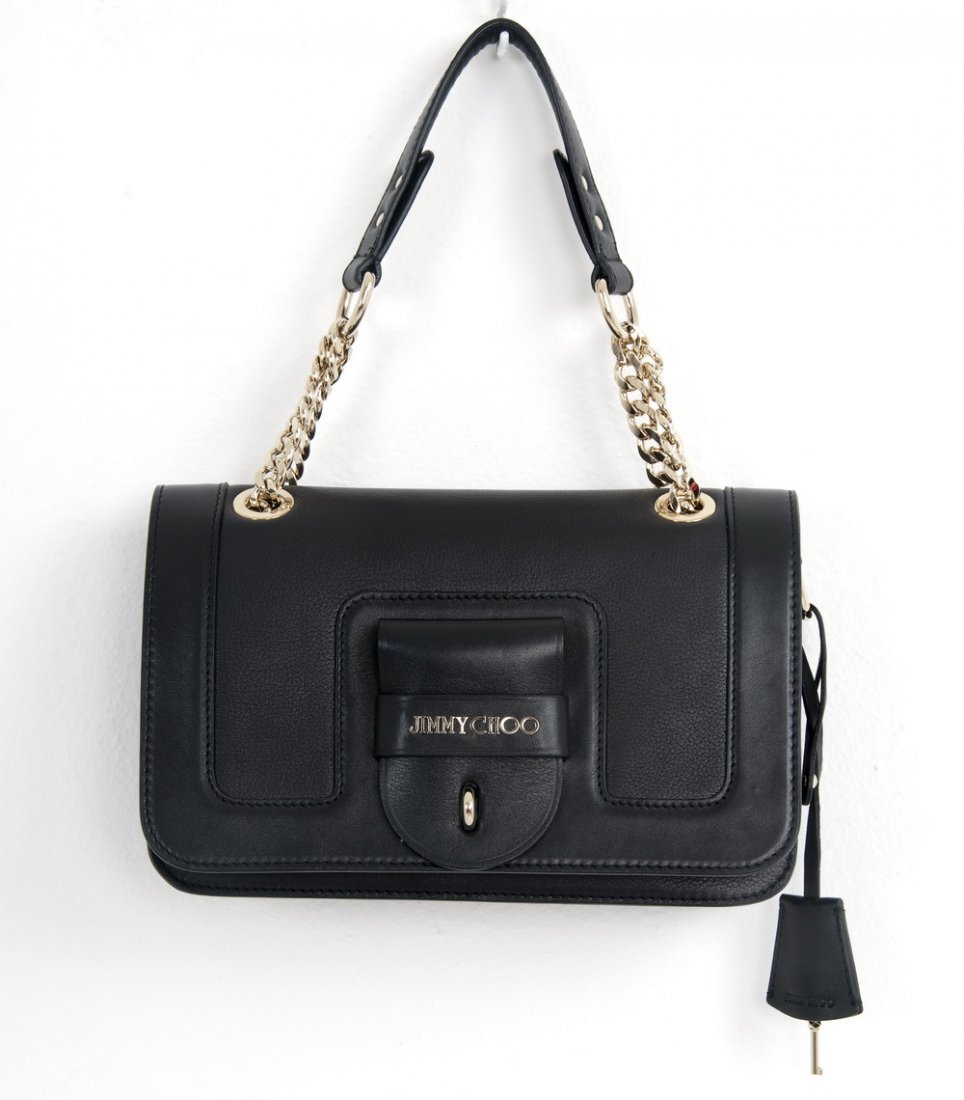 "JIMMY CHOO ""GWEN"" BLACK LEATHER SHOULDER BAG"