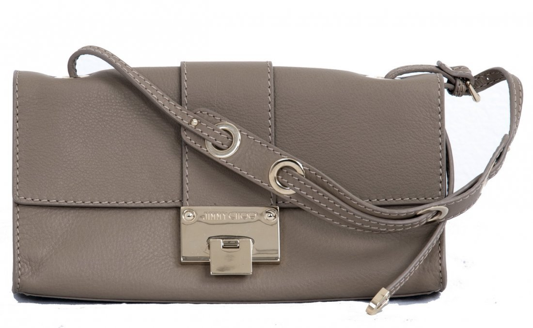 JIMMY CHOO TAUPE ENVELOPE CLUTCH