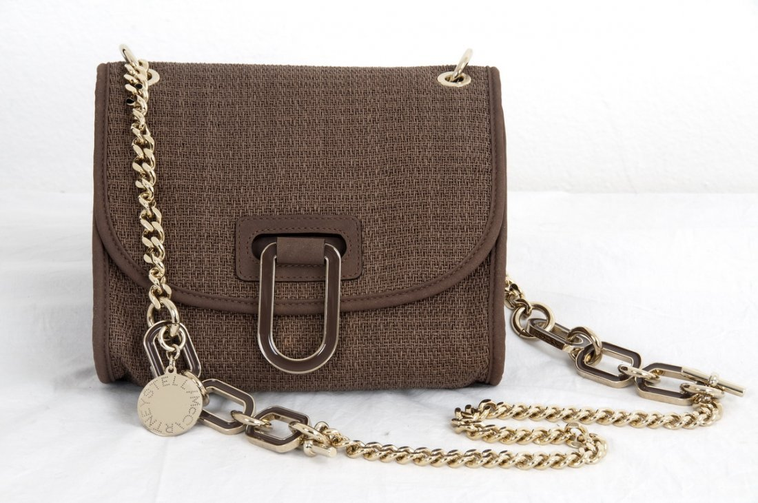 STELLA MCCARTNEY WOVEN BROWN CLOTH SHOULDER BAG