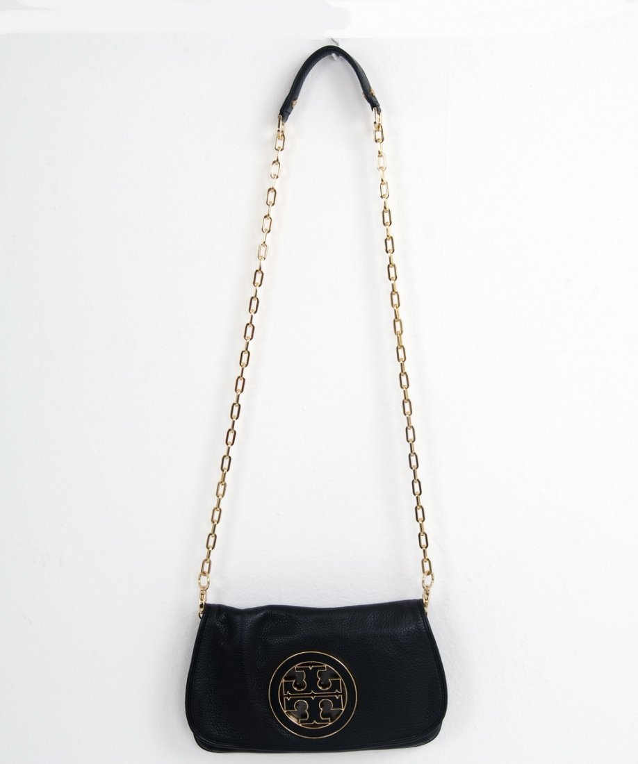 "TORY BURCH BLACK LEATHER ""AMANDA"" SHOULDER BAG"