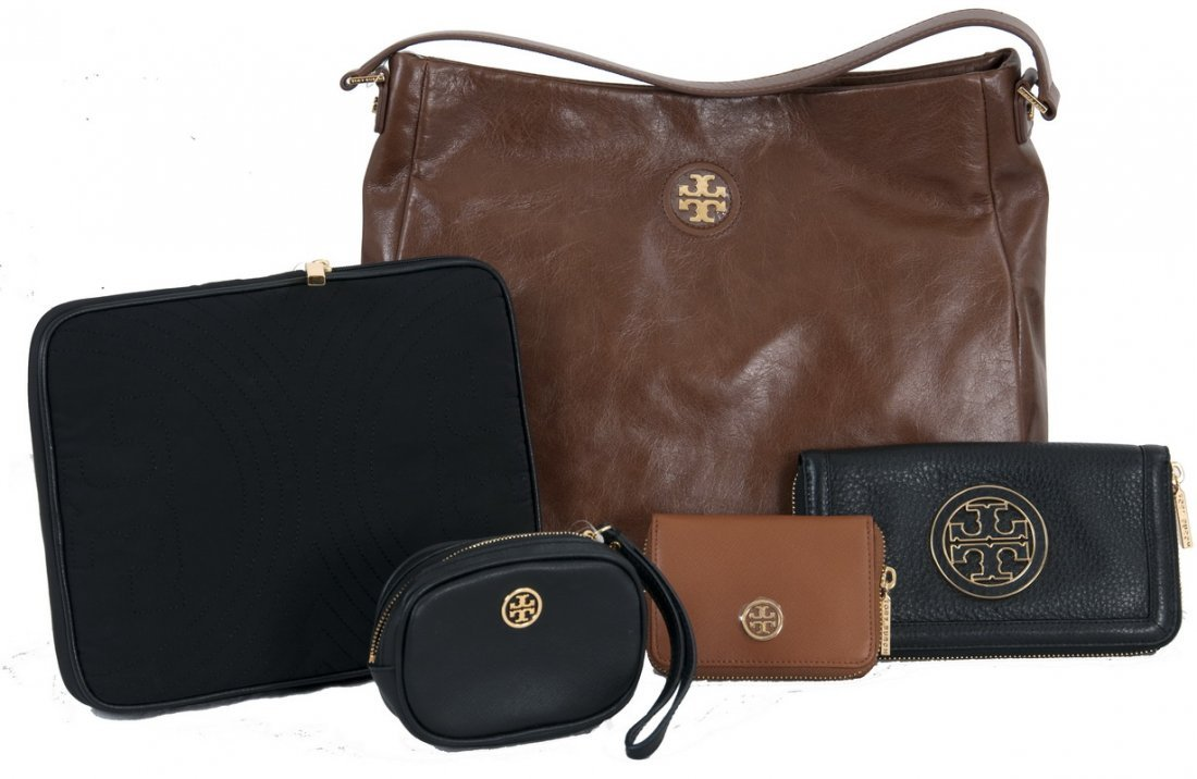 FIVE ASSORTED TORY BURCH HANDBAG AND WALLETS