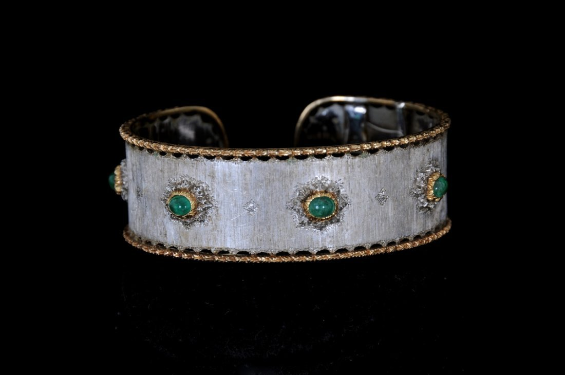 BUCCELLATI 18K WHITE & YELLOW GOLD & EMERALD CUFF