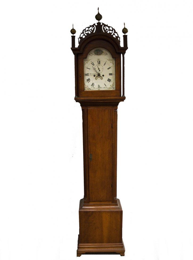 AMERICAN CHERRYWOOD TALL CASE CLOCK