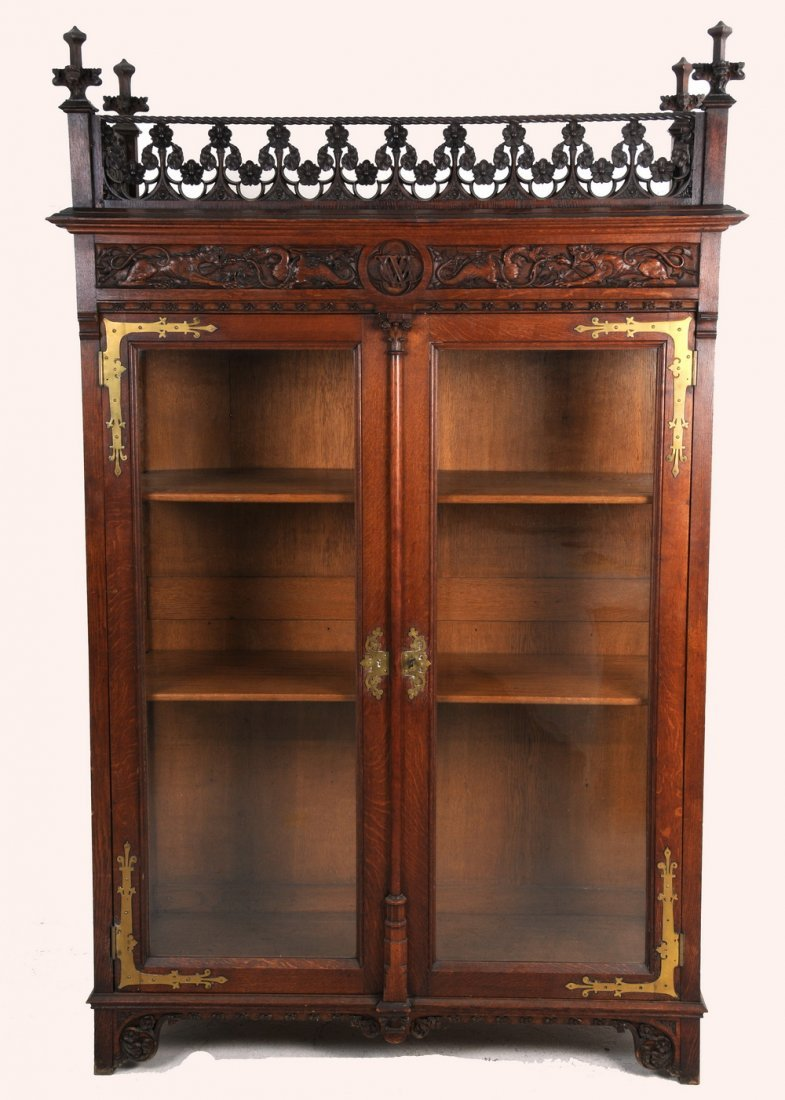 GOTHIC REVIVAL CARVED OAK BOOKCASE