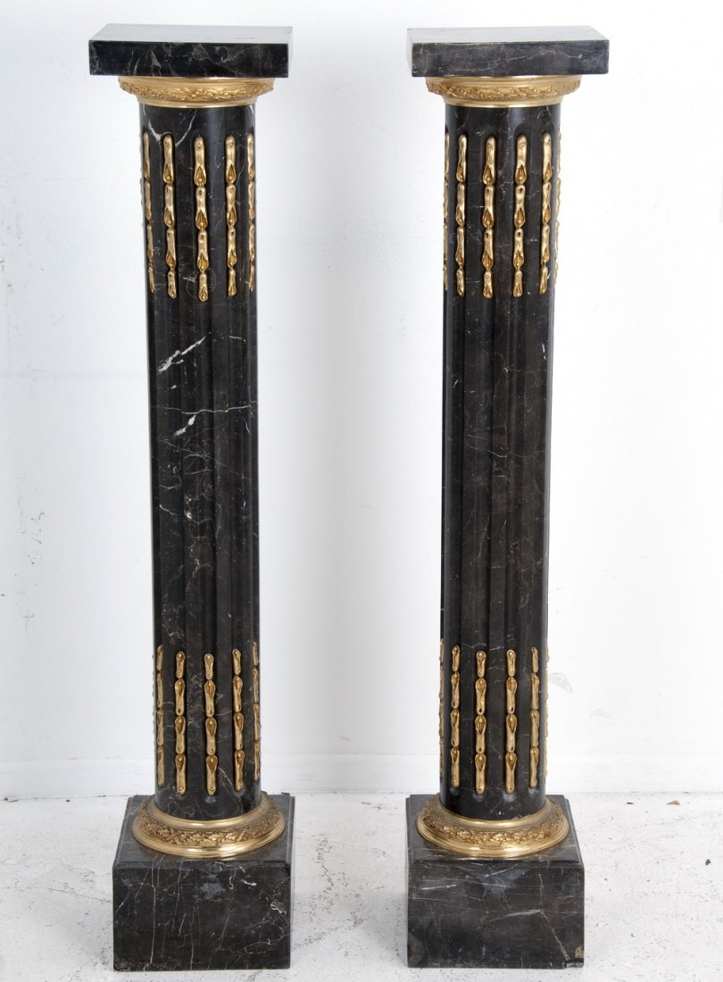 PAIR OF LOUIS XVI STYLE BRONZE MOUNTED MARBLE PEDESTALS