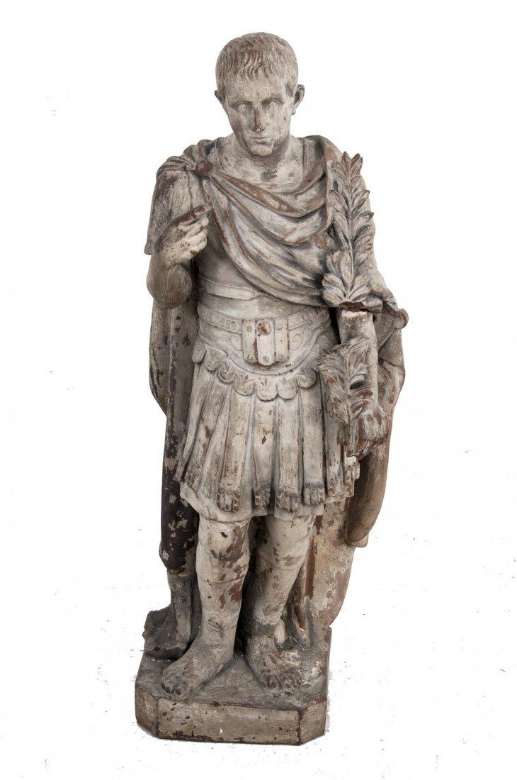 PAINTED TERRACOTTA FIGURE OF JULIUS CAESAR