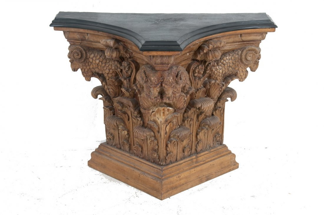 NEOCLASSIC STYLE CARVED PINE & SLATE TOP CONSOLE TABLE