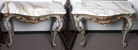 PAIR OF ITALIAN BAROQUE PAINTED  PARCEL GILT WALL