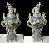 PAIR OF LARGE DRESDEN STYLE COVERED URNS