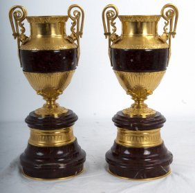 PAIR OF FRENCH GILT BRONZE & ROUGE MARBLE URNS