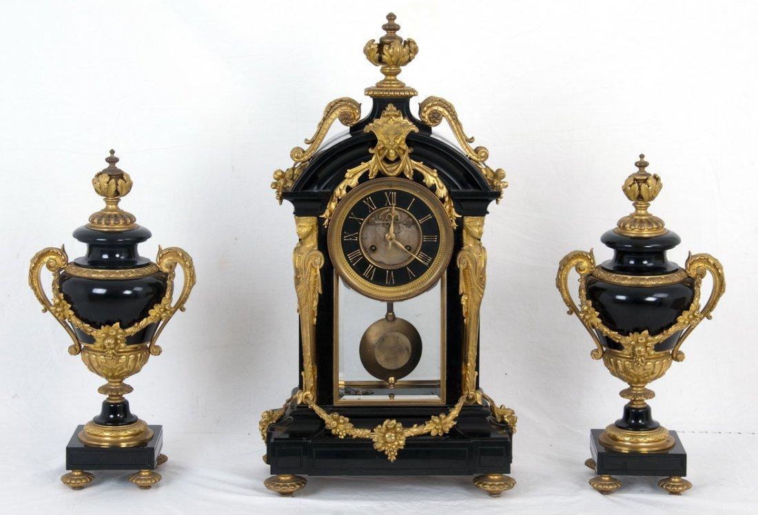 THREE-PIECE FRENCH ORMOLU-MOUNTED MARBLE CLOCK SET