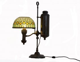BRASS STUDENT LAMP WITH TIFFANY STUDIOS SHADE