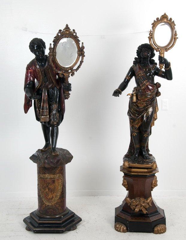 TWO VENETIAN BLACKAMOORS WITH MIRRORS