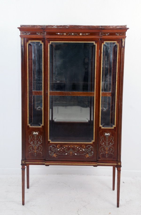 FRENCH INLAID ROSEWOOD CABINET VITRINE