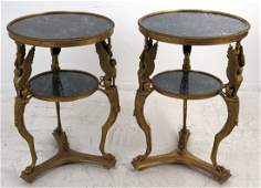 PAIR OF NEOCLASSICAL STYLE GILT BRONZE & MARBLE
