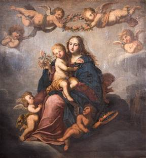 CONTINENTAL SCHOOL PAINTING OF MADONNA & CHILD WITH