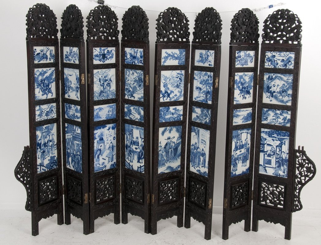 CHINESE CARVED HARDWOOD & PORCELAIN INSET EIGHT-PANEL