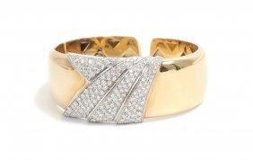 ITALIAN 18 KARAT GOLD & DIAMOND CUFF BRACELET