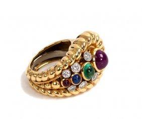 DAVID WEBB: 18 KARAT GOLD & PRECIOUS STONE RING