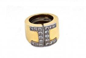 DAVID WEBB: 18K GOLD, PLATINUM, & DIAMOND RING