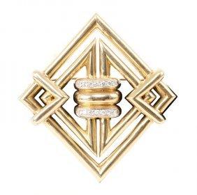 TIFFANY & CO.: 18 K GOLD, PLATINUM, & DIAMOND BROOCH