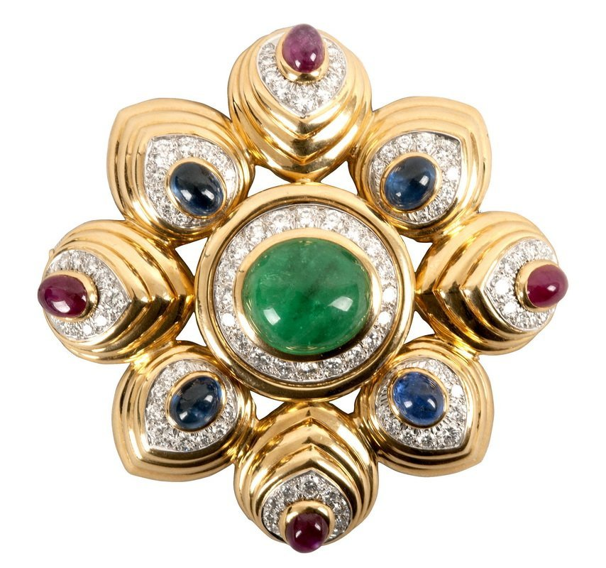 DAVID WEBB: 18K, EMERALD, RUBY, SAPPHIRE, & DIAMOND PIN