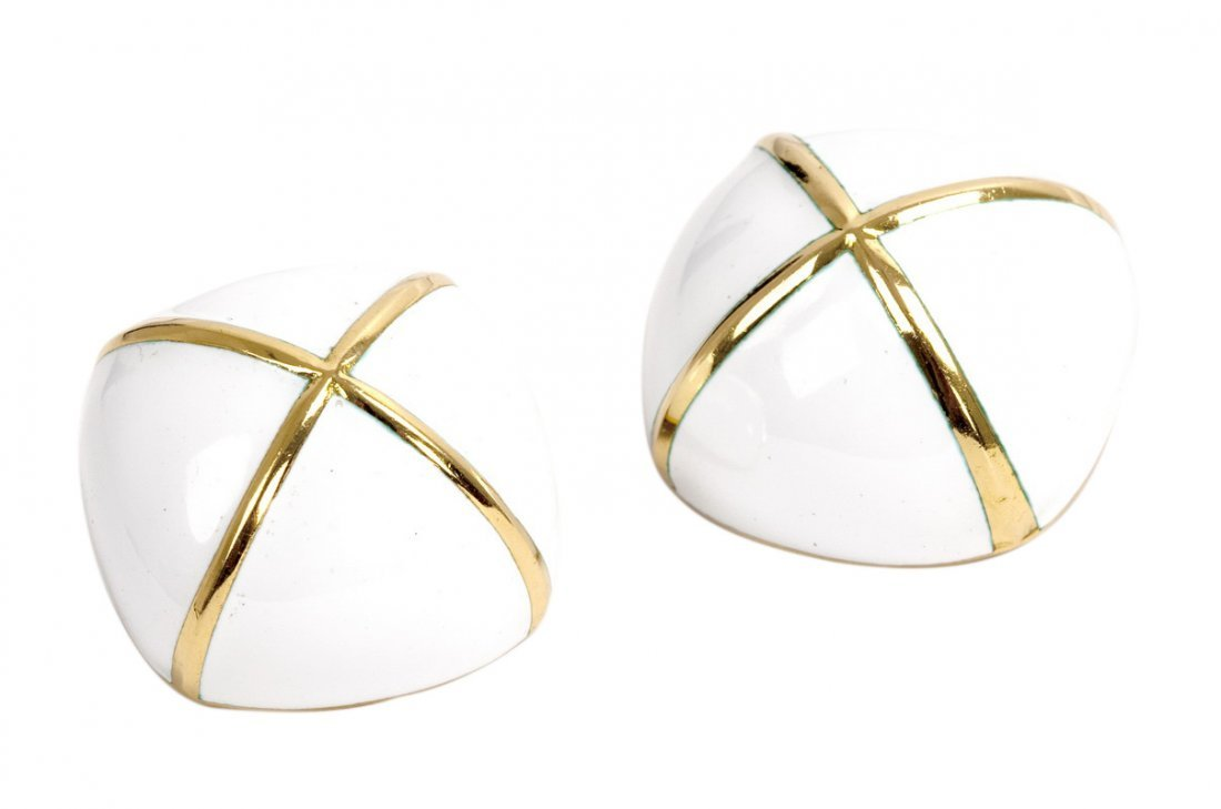 DAVID WEBB: PAIR OF 18 KARAT GOLD & WHITE ENAMEL DOMED