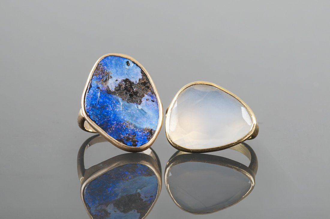 TWO GOLD & STONE DRESS RINGS