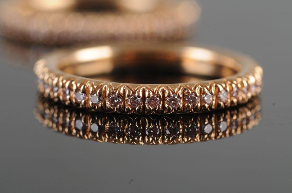 TWO 18 KARAT ROSE GOLD & PINK-COLORED DIAMOND BANDS