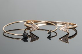 TWO 18 ROSE GOLD & DIAMOND ARROW-FORM BANGLES