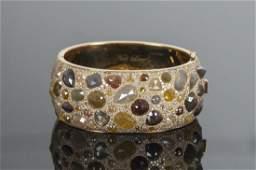 NEIL LANE 18 KARAT GOLD  FANCY COLOR DIAMOND BANGLE
