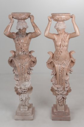 PAIR OF BAROQUE STYLE CARVED MARBLE TERMS