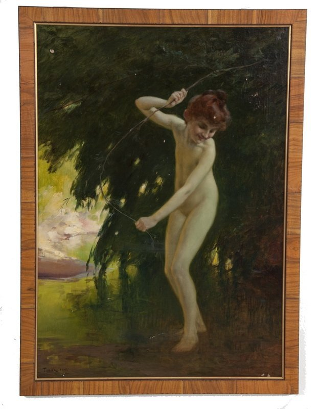 """LOUIS ADOLPHE TESSIER: """"NYMPH AT A WOODLAND POOL"""""""