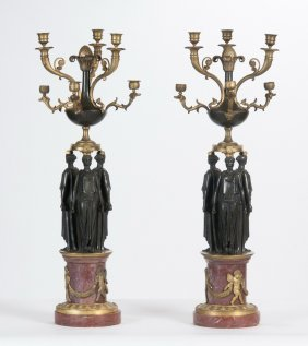 Pair Of Empire Bronze Six-light Candelabra