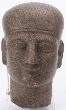 Egyptian Carved Granite Head Of Priest