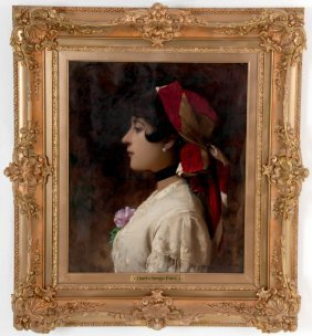 """Charles Sprague Pearce: """"portrait Of A Girl With Scarf"""