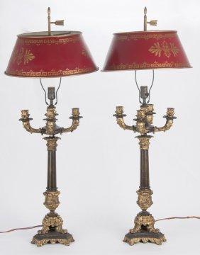 Pair Of Napoleon Iii Five-light Gilt Bronze Candelabra