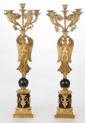 Pair Of Napoleon Iii Gilt Bronze Five-light Figural