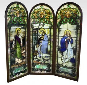 Religious Stained Glass Triptych Screen