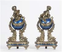 PAIR OF FRENCH DORE BRONZE  ENAMELED CHENETS